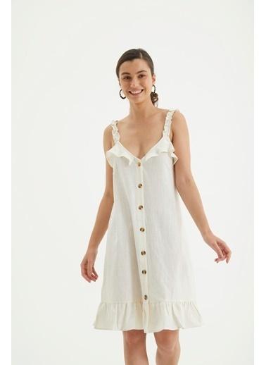 Reyon Askılı Ön Düğmeli Günlük Keten Elbise Hardal Beyaz